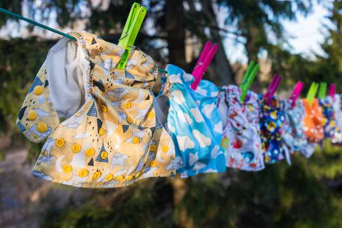 Cloth Diapers Hanging To Dry